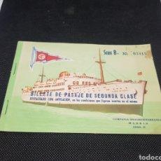 Líneas de navegación: BILLETE DE PASAJE DE SEGUNDA CLASE COMPAÑÍA TRASMEDITERRÁNEA AÑO 1959. Lote 190806563