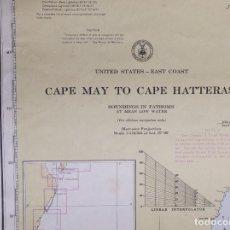Líneas de navegación: UNITED STATES-EAST COAST. CAPE MAY TO CAPE HATTERAS. CARTA NAUTICA 1964. Lote 190981117