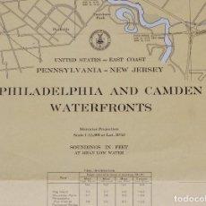 Líneas de navegación: UNITED ESTATES-EAST COAST. PENNSYLVANIA-NEW JERSEY, PHILADELPHIA AND CAMDEN WAT. CARTA NAUTICA 1958. Lote 190982345