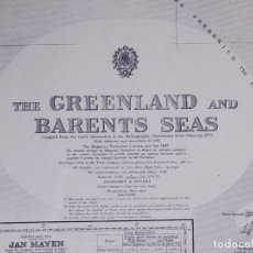 Líneas de navegación: THE GREENLAND AND BARENTS SEAS. CARTA NAUTICA 1947. Lote 190986191