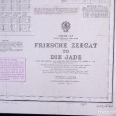Líneas de navegación: NORTH SEA. FRIESCHE ZEEGAT TO DIE JADE. CARTA NAUTICA 1973. Lote 190987942