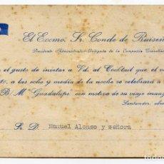 Líneas de navegación: TRASTLÁNTICO GUADALUPE, INVITACIÓN DEL CONDE DE RUISEÑADA COCKTAIL CON MOTIVO VIAJE INAUGURAL 1953. Lote 191921923