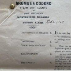 Líneas de navegación: PÓLIZA DE FLETAMENTO POR VIAJE - RIVER PLATE - CHARTER PARTY - SIETE DOCUMENTOS UNIDOS - 1907. Lote 194192405
