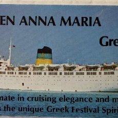 Líneas de navegación: PR-1683. TSS QUEEN ANNA MARIA / TSS OLYMPIA. GREEK LINE. AÑOS 60.EN IDIOMA INGLÉS. Lote 194508726
