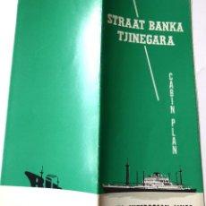 Líneas de navegación: PR-1685. M.V. STRAAT BANKA /M.V. TJINEGARA. ROYAL INTEROCEAN LINES. CABIN PLAN. AÑO 1966. Lote 194536600