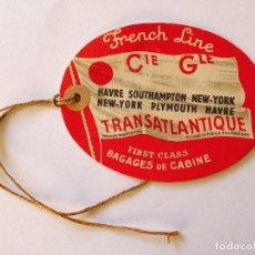 Líneas de navegación: PR-1687. DISTINTIVO PASAJERO FRENCH LINE. FIRST CLASS. AÑOS 50. COMPAGNIE GENERALE TRANSATLANTIQUE.. Lote 194612028