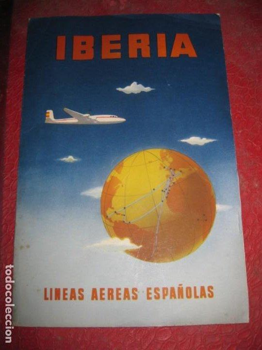 ANTIGUA CARPETA IBERIA LINEAS AEREAS ESPAÑOLAS Y SOBRE ALGODON PARA LOS OIDOS AÑOS 50 (Coleccionismo - Líneas de Navegación)