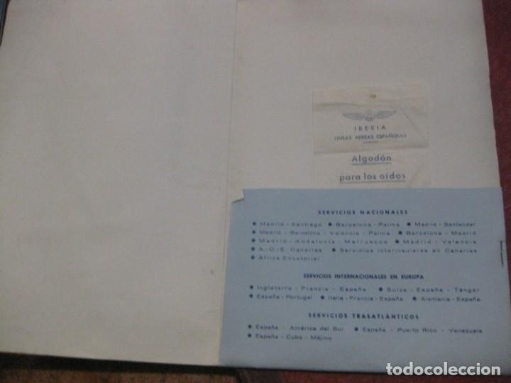Líneas de navegación: antigua carpeta iberia lineas aereas españolas y sobre algodon para los oidos años 50 - Foto 2 - 194689180