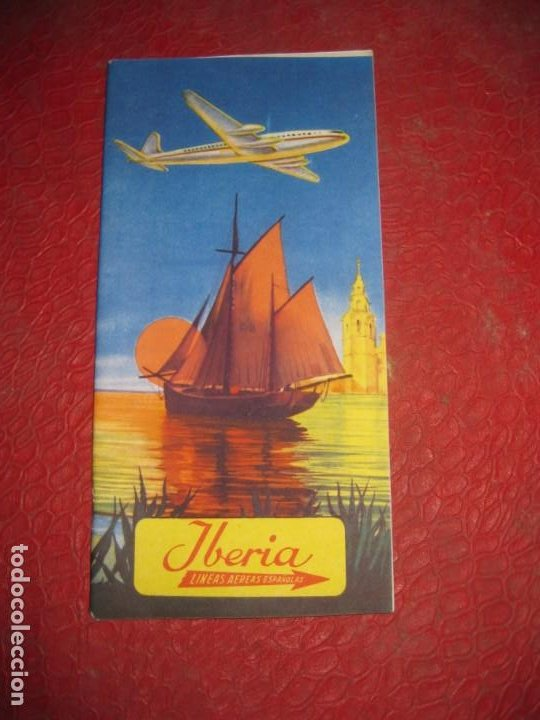 FOLLETO RUTAS DE LOS AVIONES . IBERIA LINEAS AEREAS ESPAÑOLAS AÑOS 50 (Coleccionismo - Líneas de Navegación)