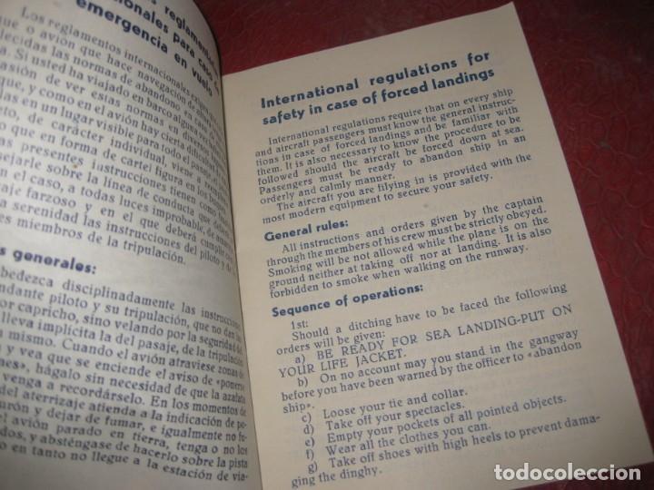 Líneas de navegación: iberia lineas aereas españolas instrucciones reglamentarias para emergencias en vuelo años 50 - Foto 2 - 194689680
