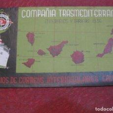 Líneas de navegación: COMPAÑIA TRANSMEDITERRANEA ITINERARIOS Y TARIFAS 1936 INTERINSULARES CANARIAS TRIPTICO. Lote 194691092