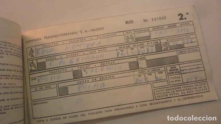Líneas de navegación: ANTIGUO BILLETE.COMPAÑIA TRASMEDITERRANEA S.A CIUDAD DE GRANADA.2ª CLASE.PALMA-VALENCIA.1970? - Foto 2 - 195028752