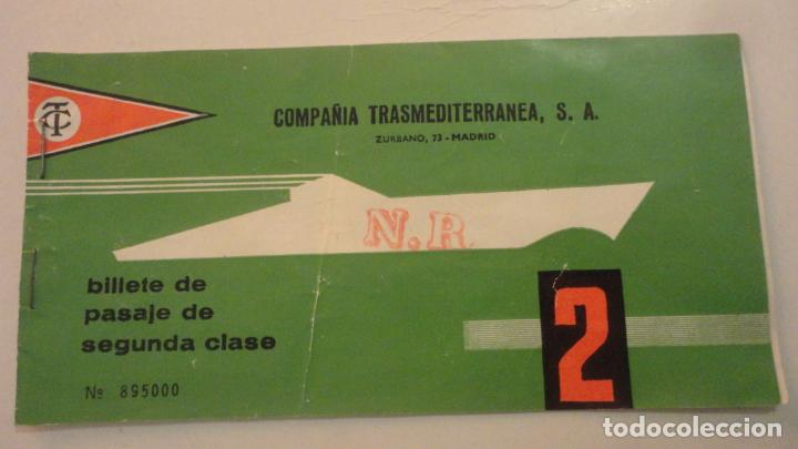 ANTIGUO BILLETE.COMPAÑIA TRASMEDITERRANEA S.A CIUDAD DE GRANADA.2ª CLASE.PALMA-VALENCIA.1970? (Coleccionismo - Líneas de Navegación)