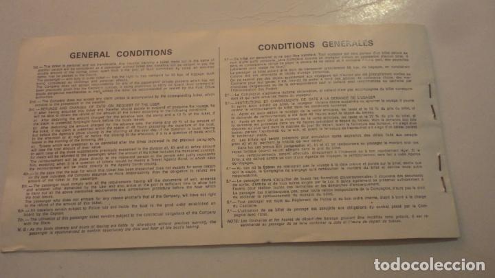 Líneas de navegación: ANTIGUO BILLETE COMPAÑIA TRASMEDITERRANEA.3ª CLASE. 1970? - Foto 3 - 195029005