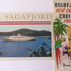 Líneas de navegación: PR-1703. NORWERGIAN AMERICA LINE. 2 CATALOGOS AÑOS 1954 Y 1966. M.S. OSLOFJRD / M.S. SAGAFJORD. Lote 195041186