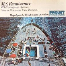 Líneas de navegación: PR-1704. M.S.RENAISSANCE. 1976 CRUISES. PAQUET FRENCH CRUISES. . Lote 195041950