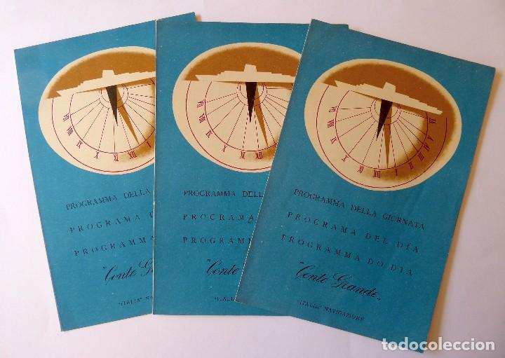 PR-1716. CONTE GRANDE.PRIMA CLASSE. ITALIA NAVIGAZIONE. 3 PROGRAMMA DELLA GIORNATA. JUNIO 1957. (Coleccionismo - Líneas de Navegación)
