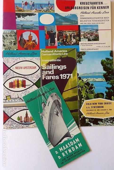 PR-1718. HOLLAND AMERICA LINE. 5 CATALOGOS DIFERENTES (VER DESCRIPCIÓN). AÑOS 60 Y 70. (Coleccionismo - Líneas de Navegación)