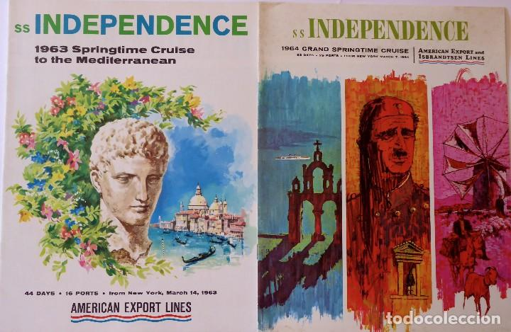 PR-1719. SS INDEPENDENCE. 1963 AND 1964 GRAND SPRINGTIME CRUISE. AMERICAN EXPORT LINES. 2 CATALOGOS (Coleccionismo - Líneas de Navegación)