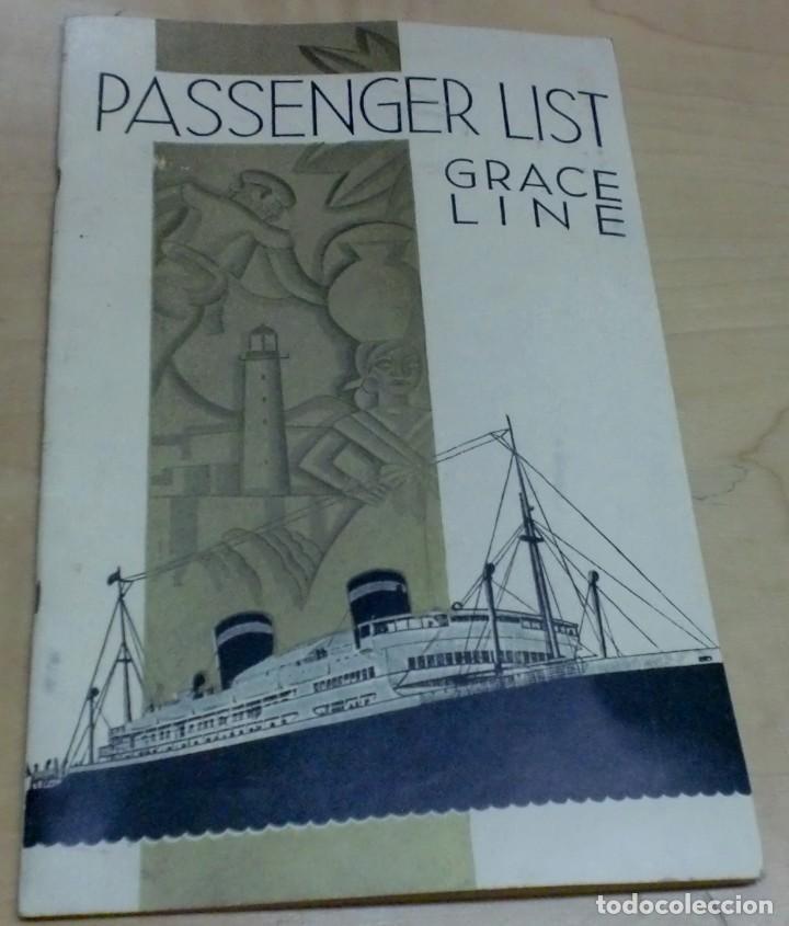 LISTA PASAJEROS GRACE LINE PASSENGER LIST GRACE LINES S.S. SANTA PAULA AÑO 1941 (Coleccionismo - Líneas de Navegación)