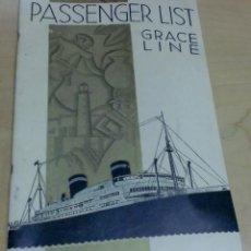 Líneas de navegación: LISTA PASAJEROS GRACE LINE PASSENGER LIST GRACE LINES S.S. SANTA PAULA AÑO 1941. Lote 195108783