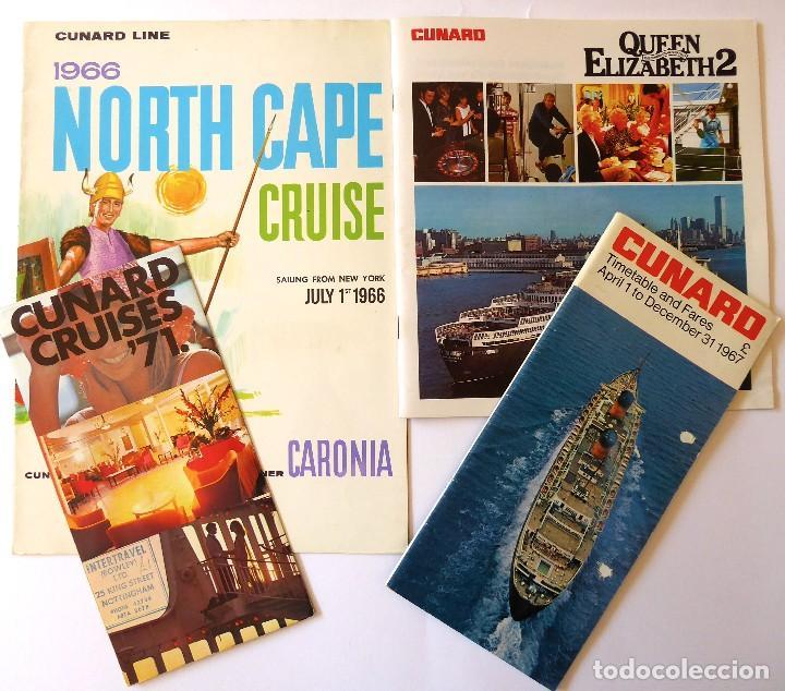 PR-1724. CUNARD CRUISES. 4 CATALOGOS AÑOS 1966, 1967,1971 Y 1972. VER DESCRIPCIÓN. (Coleccionismo - Líneas de Navegación)