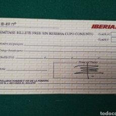 Linhas de navegação: IBERIA - BILLETE FREE SIN RESERVA DE CUPO CONJUNTO. Lote 196350576