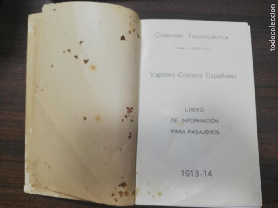 Líneas de navegación: COMPAÑIA TRASATLANTICA. VAPORES CORREOS ESPAÑOLES. LIBRO DE INFORMACION PARA PASAJEROS. 1913-14. - Foto 3 - 196863140