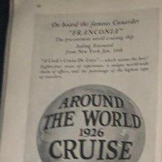Líneas de navegación: PUBLICIDAD EN PRENSA DE CRUCERO ALREDEDOR DEL MUNDO. ORIGINAL AÑO 1925. EN INGLÉS.. Lote 197527920