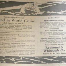 Líneas de navegación: PUBLICIDAD EN PRENSA DE CRUCERO ALREDEDOR DEL MUNDO. ORIGINAL AÑO 1925. EN INGLÉS.. Lote 197528316
