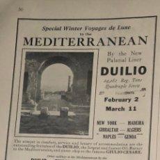 Líneas de navegación: PUBLICIDAD EN PRENSA DE CRUCERO POR EL MEDITERRÁNEO. ORIGINAL AÑO 1925. EN INGLÉS.. Lote 197530206