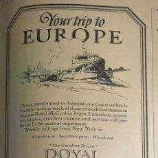 Líneas de navegación: PUBLICIDAD EN PRENSA DE CRUCERO POR EUROPA. ORIGINAL AÑO 1925. EN INGLÉS.. Lote 197531341