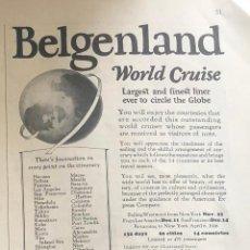 Líneas de navegación: PUBLICIDAD EN PRENSA DE CRUCERO ALREDEDOR DEL MUNDO EN BARCO BELGENLAND. ORIGINAL AÑO 1925 EN INGLÉS. Lote 197531673