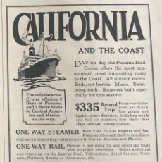 Líneas de navegación: PUBLICIDAD EN PRENSA DE CRUCERO POR LA COSTA DE CALIFORNIA. ORIGINAL AÑO 1925. EN INGLÉS.. Lote 197531908