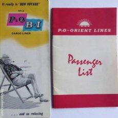 Linhas de navegação: PR-1868. 2P & O ORIENT LINES. CABIN PLAN CARGO LINERS / PASSENGER LIST SS ORIANA. AÑO 1959 Y 1966. . Lote 198358982