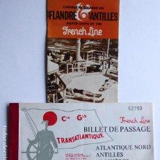 Linhas de navegação: PR-1869. FRENCH LINE. SS FLANDRE / SS ANTILLES, CARIBBEAN CRUISES. BILLET DE PASSAGE ANTILLES. 2 ART. Lote 198362888