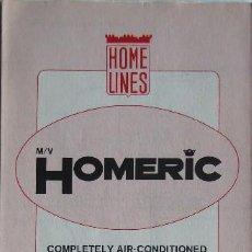 Líneas de navegación: PR-1872. MV HOMERIC. CRUISE ACCOMMODATION PLAN. NOVIEMBRE 1985. HOME LINES.. Lote 198523090