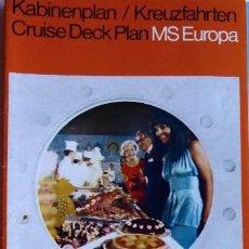 Líneas de navegación: PR-1879. MS EUROPA. CRUISE DECK PLAN . AÑOS 70.HAPAG LLOYD AG.. Lote 198560250