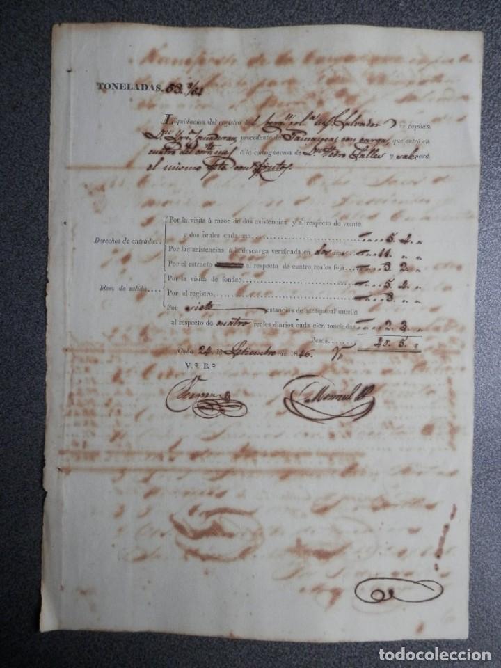 NAVEGACIÓN MANUSCRITO AÑO 1846 PAGO DERECHOS FONDEO BERGANTIN EN CUBA (Coleccionismo - Líneas de Navegación)