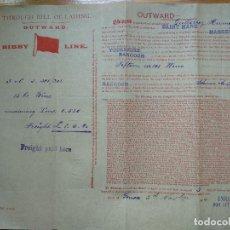 Linhas de navegação: DOCUMENTO. POLIZA. CONOCIMIENTO DE EMBARQUE. BIBBY LINE. OUTWARD. 1904. Lote 199395948