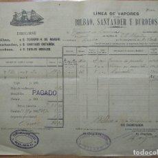 Linee di navigazione: CONOCIMIENTO DE EMBARQUE VAPOR ESPAÑOL -FOMENTO- BILBAO 1897. DESTINO BURDEOS.. Lote 199398626