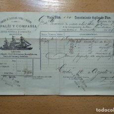 Linee di navigazione: CONOCIMIENTO DE EMBARQUE COMPAÑIA NAVEGACION FLUVIAL MARITIMA CADIZ 1897.. Lote 199399345
