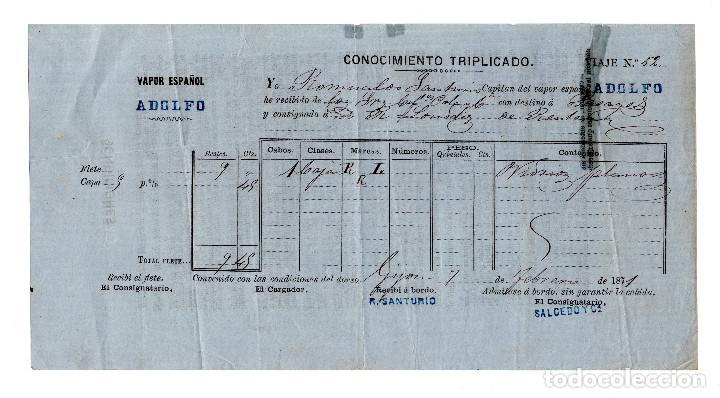 CONOCIMIENTO DE EMBARQUE GIJÓN 1871. (Coleccionismo - Líneas de Navegación)
