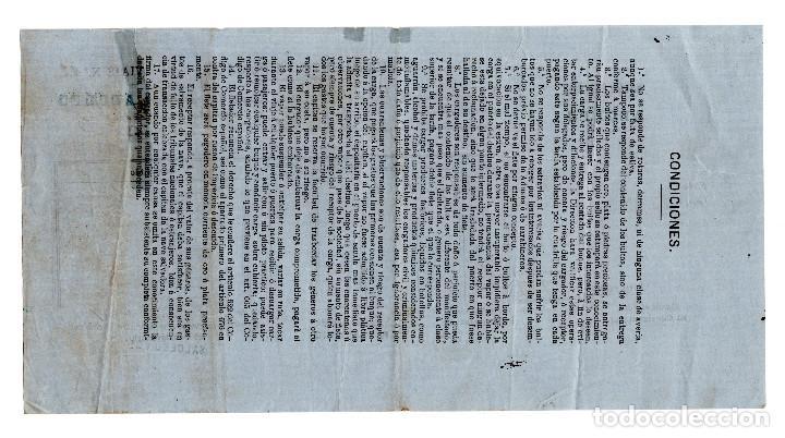 Líneas de navegación: CONOCIMIENTO DE EMBARQUE GIJÓN 1871. - Foto 2 - 200838993