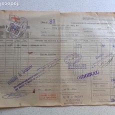 Linhas de navegação: CONOCIMIENTO DE EMBARQUE. FLETE, COMPAÑÍA MARTÍTIMA FRUTERA. 1947. SELLO MARTÍNEZ DE PINILLA´, CÁDIZ. Lote 202855843
