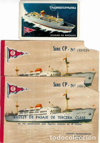 CALENDARIO TRASMEDITERRANEA TRAS 1979 BUQUE C. BADAJOZ DOS BILLETES PASAJE 1959 3 ERA CLASE BARCO (Coleccionismo - Líneas de Navegación)