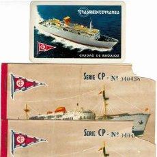 Líneas de navegación: CALENDARIO TRASMEDITERRANEA TRAS 1979 BUQUE C. BADAJOZ DOS BILLETES PASAJE 1959 3 ERA CLASE BARCO. Lote 202871028