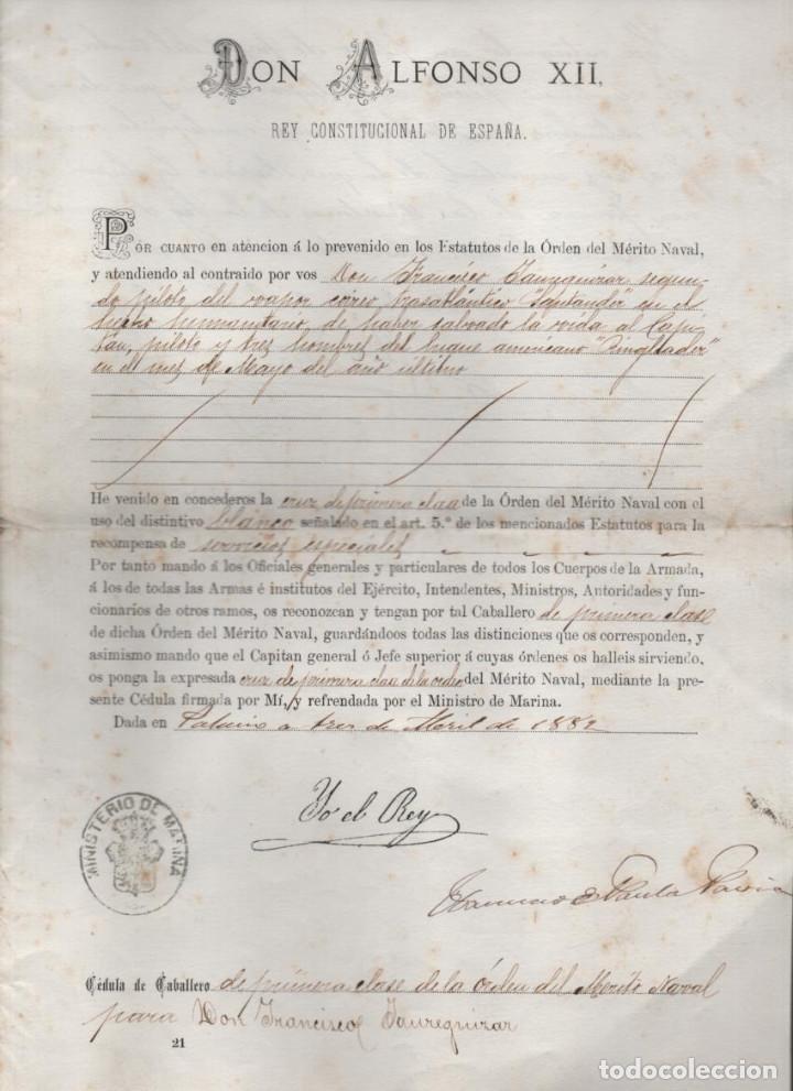 CRUZ DE PRIMERA CLASE AL D. FCO. JAUREGUIZAR. SALVAR VIDA BUQUE AMARICANO ANGLADER-ABRIL 1882,LEER (Coleccionismo - Líneas de Navegación)
