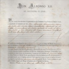 Líneas de navegación: CRUZ DE PRIMERA CLASE AL D. FCO. JAUREGUIZAR. SALVAR VIDA BUQUE AMARICANO ANGLADER-ABRIL 1882,LEER. Lote 204075221