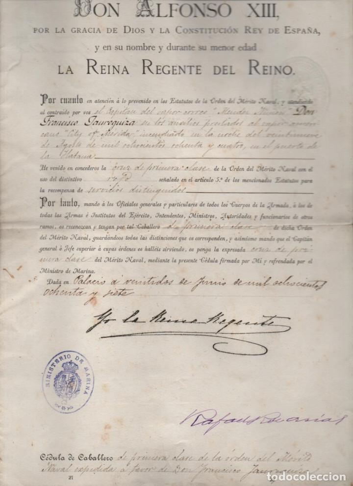 CRUZ DE PRIMERA CLASE AL D. FCO. JAUREGUIZAR. SALVAR VIDA BUQUE AMARICANO CITY OF MERIDA 1887,LEER (Coleccionismo - Líneas de Navegación)